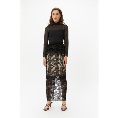 Feather Lace Maxi Skirt Black, Black