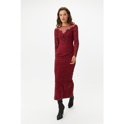 Lace Maxi Dress Red, Red