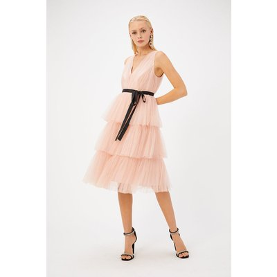 Coast Tulle Midi Dress, Pink