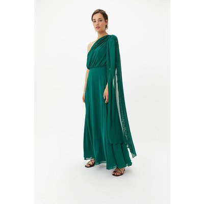 One Shoulder Lace Dress Green, Green