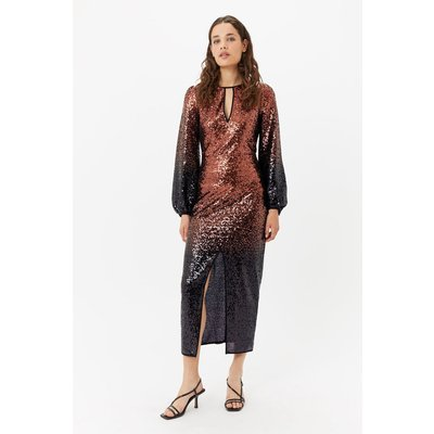 Ombre Sequin Maxi Dress Bronze, Bronze