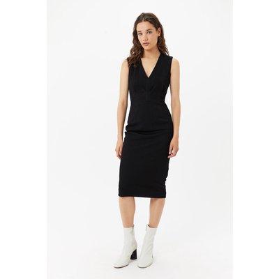 V-Neck Midi Dress Black, Black