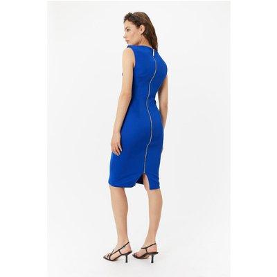 Plus Size Scuba Ruched Shift Dress Blue, Blue