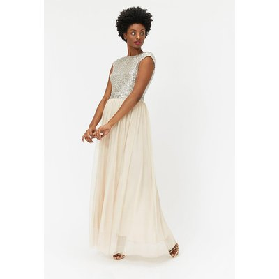 Coast Sleeveless Sequin Bodice Tulle Skirt Maxi Bridesmaid Dress, Beige