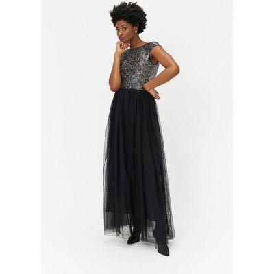 Sequin Maxi Tulle Dress Silver, Silver
