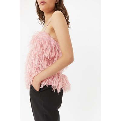Faux Feather Cami Top Pink, Pink