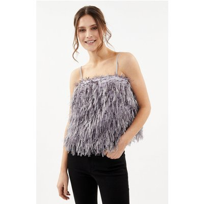 Faux Feather Cami Top Grey, Grey