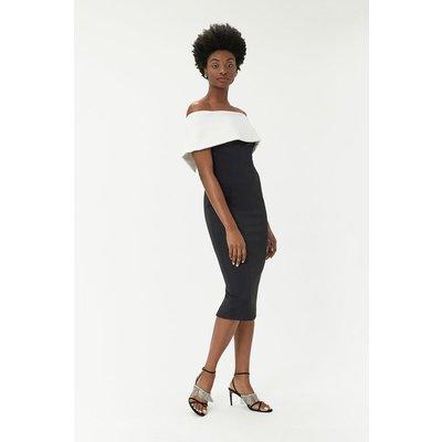 Scuba Bardot Dress Black, Black