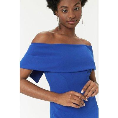 Curve - Scuba Bardot Dress Blue, Blue