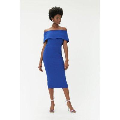 Scuba Bardot Dress Blue, Blue