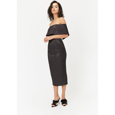 Sparkle Bardot Dress Black, Black