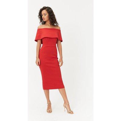 Bardot Midi Dress Red, Red