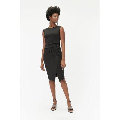 Ruched Pencil Dress Black, Black