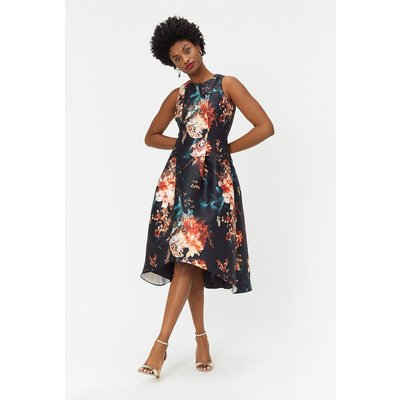 Coast Floral Twill Full Midi Dress, Multi