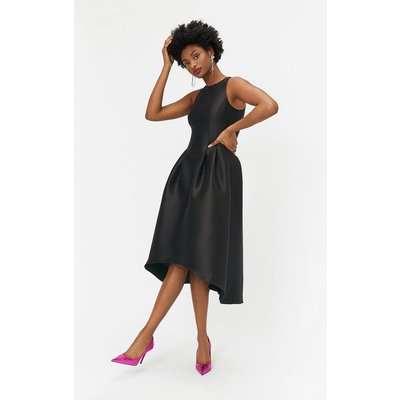 Twill Full Midi Dress Black, Black
