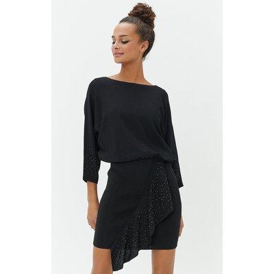 Studded Batwing Dress Black, Black