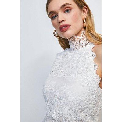 Karen Millen Lace Applique Halter Midi Dress -, Ivory