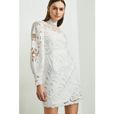 Karen Millen Cutwork Volume Sleeve Dress -, White
