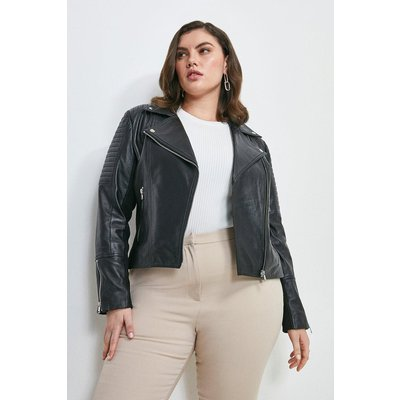 Karen Millen Curve Essential Leather Jacket -, Black