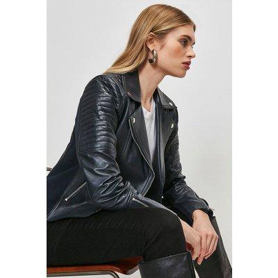 Karen Millen Essential Leather Jacket -, Navy