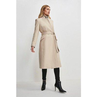 Karen Millen Notch Neck Wool Blend Coat -, Pink