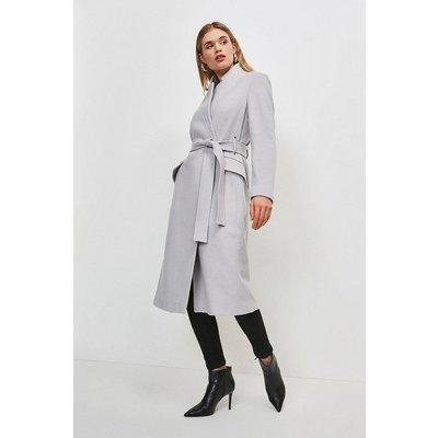 Karen Millen Notch Neck Wool Blend Coat -, Pale Grey