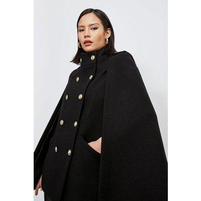 Karen Millen Italian Wool Blend Military Cape -, Black