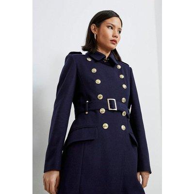 Karen Millen Italian Longline Wool Trench Coat -, Navy