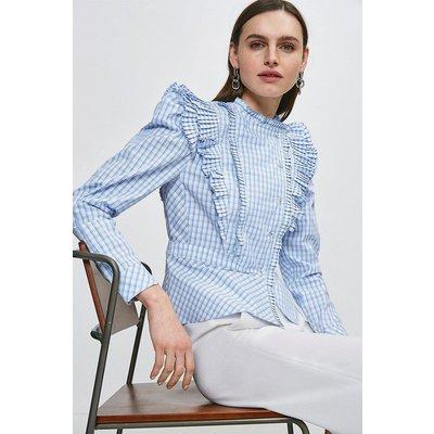 Karen Millen Check Pleat Ruffle Button Blouse -, Blue