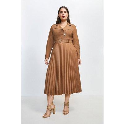 Karen Millen Curve Polished Wool Blend Biker Pleat Dress -, Camel