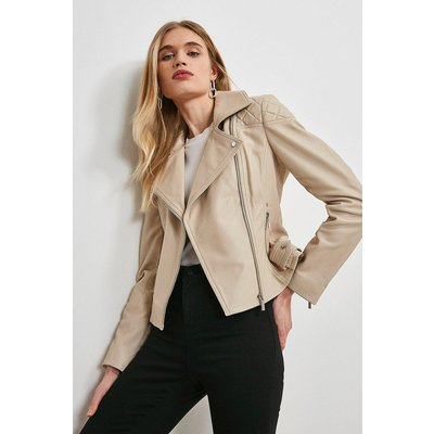 Karen Millen Quilt Panelled Leather Biker Jacket -, Cream