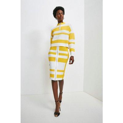 Karen Millen Ripple Stitch Stripe Pencil Skirt, Multi