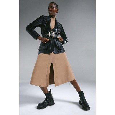 Karen Millen Leather Perforated Panelled Blazer -, Black