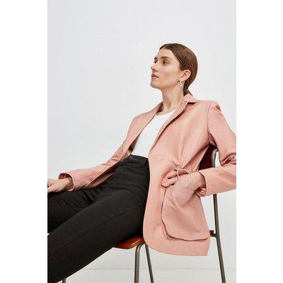 Karen Millen Leather Perforated Panelled Blazer -, Pink
