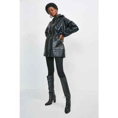 Karen Millen Leather Quilted Hem Panel Short Parka Coat -, Black