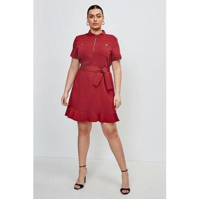 Karen Millen Curve Stretch Viscose Pocket Dress - Brick Red, Brown