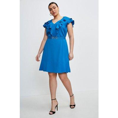 Karen Millen Curve Stretch Viscose Ruffle Dress -, Blue