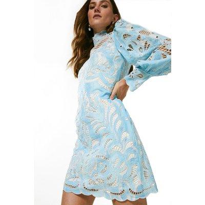Karen Millen Paisley Cutwork Volume Sleeve Dress -, Blue