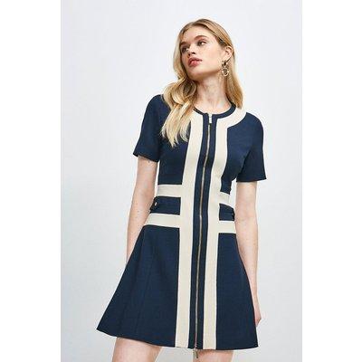 Karen Millen Structured Crepe Panelled A Line Dress -, Navy