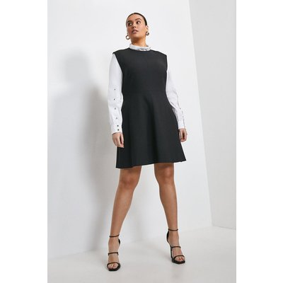 Karen Millen Curve Compact Stretch Sleeved A Line Dress -, Black