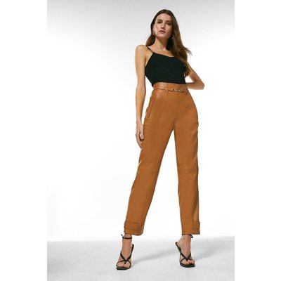 Karen Millen Leather Snaffle Trim Trouser -, Camel