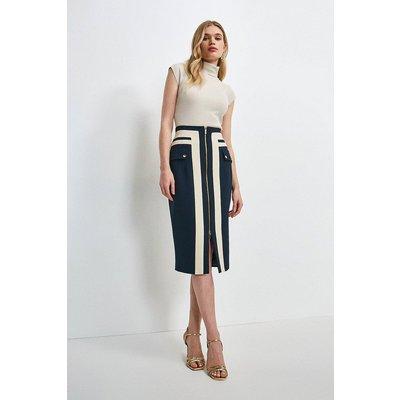 Karen Millen Structured Crepe Panelled Pencil Skirt -, Navy