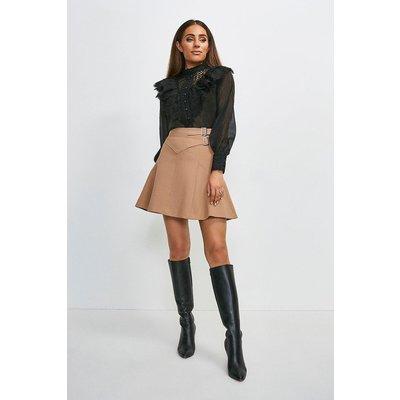 Karen Millen Compact Stretch Buckle Detail A Line Skirt -, Camel