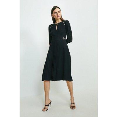 Karen Millen Long Sleeve Military Pleat Midi Dress -, Black