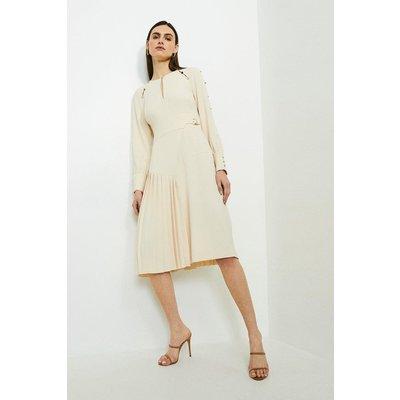 Karen Millen Long Sleeve Military Pleat Midi Dress -, Cream
