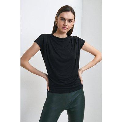 Karen Millen Viscose Jersey Cowl Neck Top -, Black