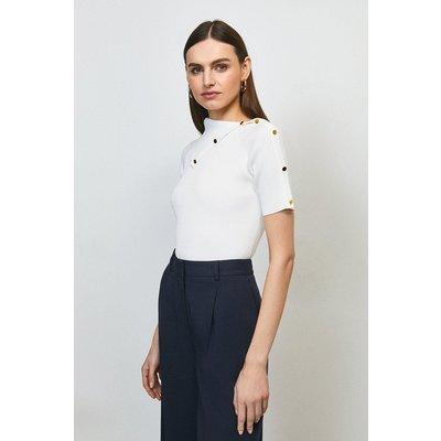 Karen Millen Envelope Neck Short Sleeve Top -, Ivory