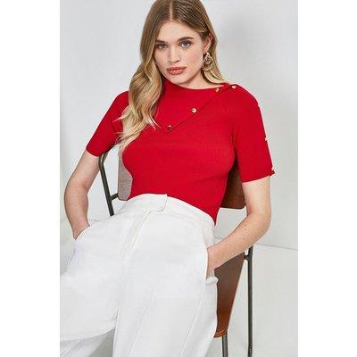 Karen Millen Envelope Neck Short Sleeve Top -, Red