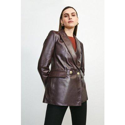 Karen Millen Leather Fitted Gold Button Db Jacket -, Fig