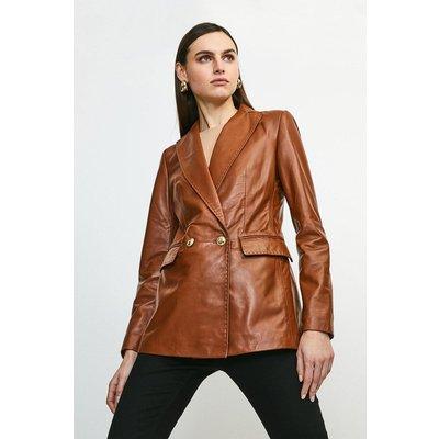 Karen Millen Leather Fitted Gold Button Db Jacket -, Tan